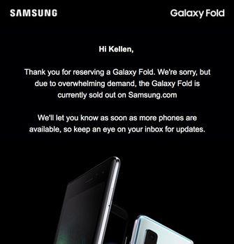 Samsung Galaxy Fold uitverkocht