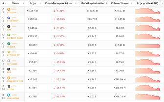 Bitcoin en top 10 cryptomunten onderuit na inreisverbod Amerika