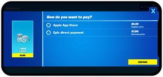 Epic Games Fortnite in app aankopen buiten App Store
