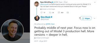 Elon Musk tweet over Performance Tesla Model 3
