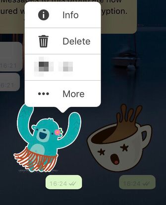 WhatsApp beta iOS stickers